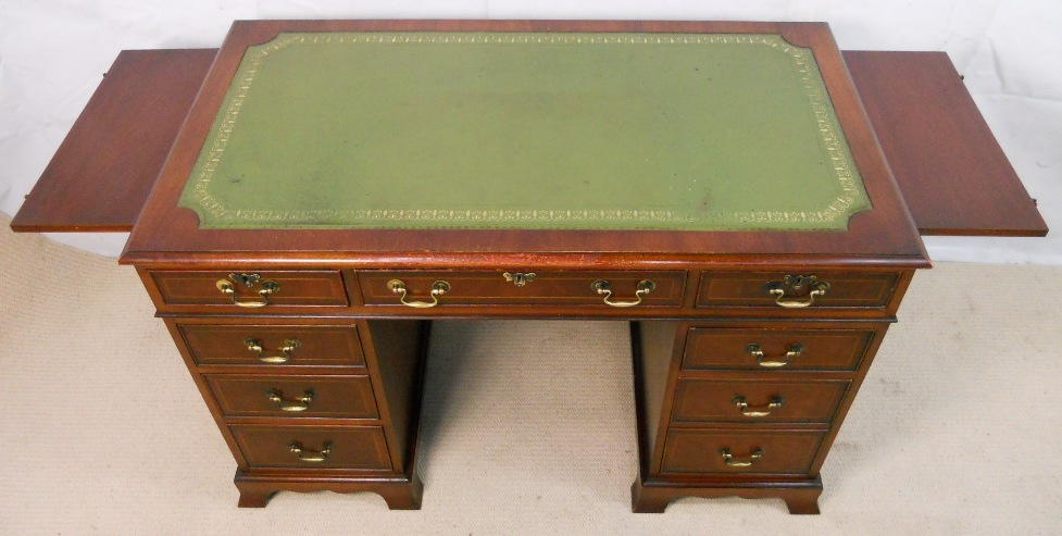 Antique Style Mahogany Pedestal Desk by Bradley - SOLD - Style Mahogany Pedestal Desk By Bradley - SOLD